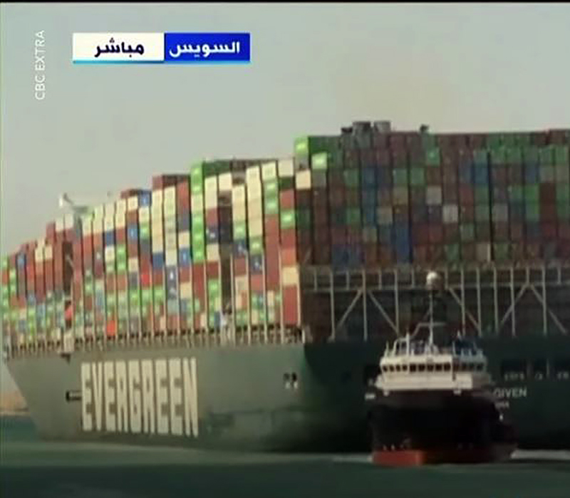 The container ship Ever Given was freed Monday in the Suez Canal.
